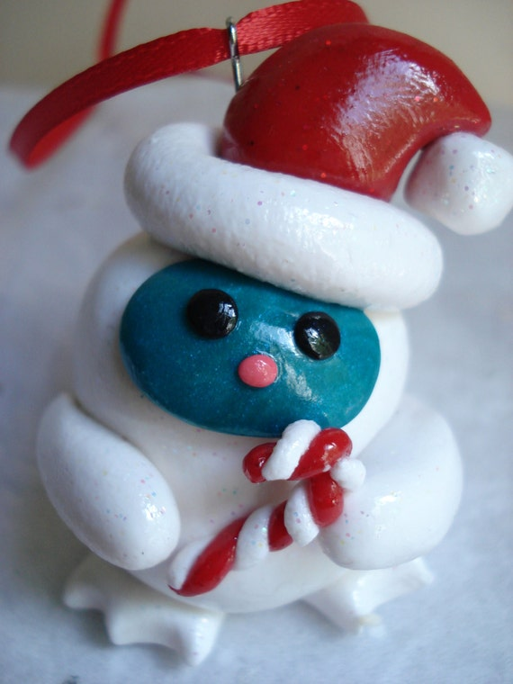 Abominable snowman christmas ornament polymer clay yeti for Abominable snowman christmas decoration