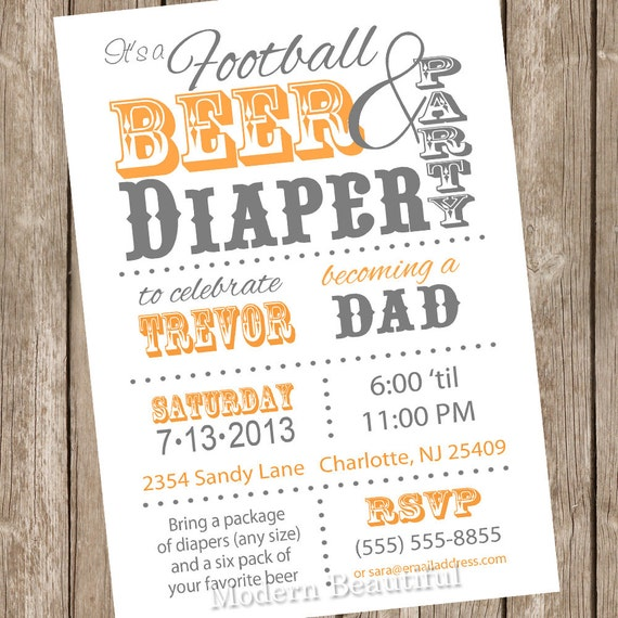 Football Beer and Diaper Baby Shower Invitation Orange and