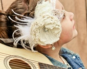 Girl Headband Ivory couture  vintage inspired with pearls, lace and feathers  for newborn toddler child girl or adult