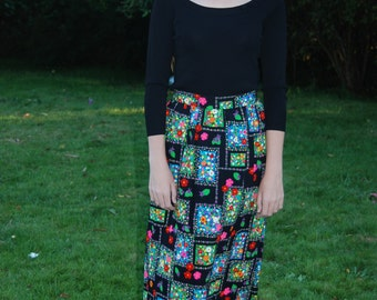 Vintage 70's Black Skirt w/ Bright Flowers - S-M