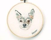 "Custom Pet Portrait. Hand Embroidered Pet Portrait. 5"" Custom Dog Portrait Hand Stitched Pet Art. Custom Pet Embroidery Hoop by HOOPLASTITCH"