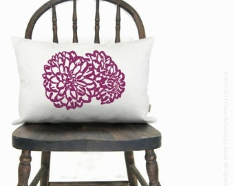 12x18 or 16x16 Floral Pillow Case | Personalized Flower Cushion Cover | Your Choice of Print Color, Fabric & Size | Cottage Chic Home Decor