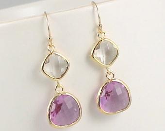 Gold Earrings, Lavender Earrings Crystal Lilac Light Purple Earrings Bridal Earrings Wedding Earrings Bridal Jewelry Wedding Jewelry Bride