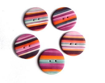 Colorful polymer clay handmade buttons 3 cm, Spring buttons, DIY supplies, stripes Bohemian BOHO, set 5 pces, purple pink orange turquoise
