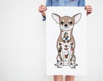 Chihuahua Dog Tea Towel // Christmas gift idea, chihuahua gift, dog love, tattoo lover gift, traditional tattoos // 'Tattoo Chihuahua'