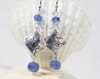 Tanzanite Earrings Sterling silver wire wrapped earrings Gemstone Earrings