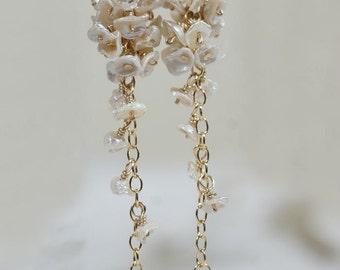 Bridal Pearl Earrings Keishi Pearl Earrings Wedding Earrings  Gemstone Earrings  Birthstone Jewelry Natural Pearl Earrings