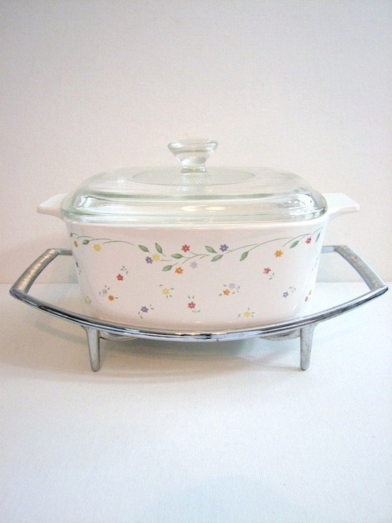 vintage corning ware english meadow rare pattern casserole