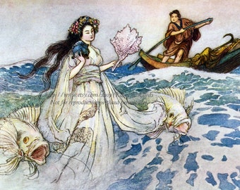 Sea Witch Card - Daughter of the Deep Sea - Repro Warwick Goble Greeting Card - Vintage Style