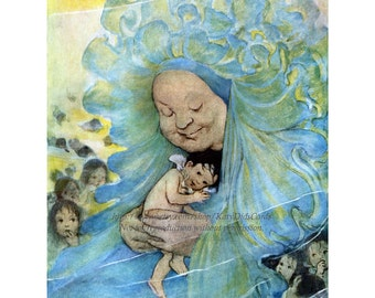 Fairy Greeting Card - Water Baby with Sea Faerie - Jessie Willcox Smith