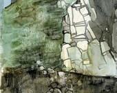 Original watercolor landscape - Headland