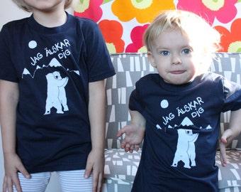 Swedish I Love you- Jag Alskar dig- Dancing Polar Bears Screen Printed Kids T Shirt  Navy