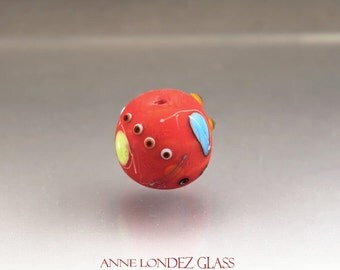 Red lampwork focal bead etched Miro MADE TO ORDER Anne Londez