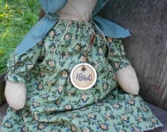 Primitive, Prairie, Handmade Doll, 1860, Original Bonnet Design,  Shelf Sitter, Wall Hanger,  OFG Team