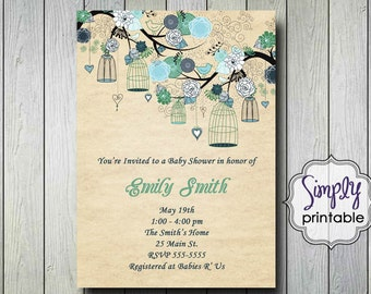 Rustic Birdcage Shower Invitation
