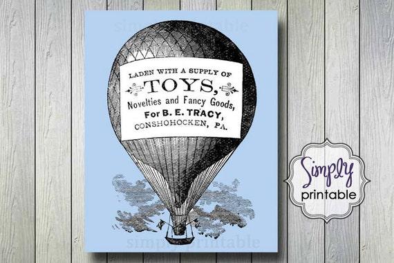 Vintage Hot Air Balloon 8x10 Digital Wall Print