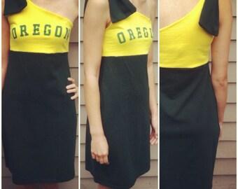 UO Ducks University Of Oregon Game Day Dress Upcycled Size S
