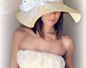 Dainty Bride -Tan Ivory Floppy Hat white lily flower lace Kentucky Derby Garden Party or Weddings wide brim straw hat beach Bridal Shower