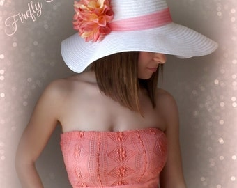 Tropic Beauty - White Floppy Hat with Big Coral Peach Dahlia Flower for Kentucky Derby Race Church Wedding Beach or Garden Party