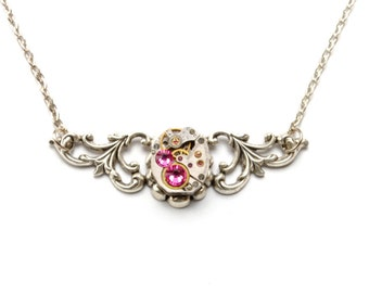 OCTOBER Steampunk Necklace ROSE PINK Steampunk Wedding Jewelry Vintage Watch Necklace Silver Steam Punk Jewelry By Victorian Curiosities