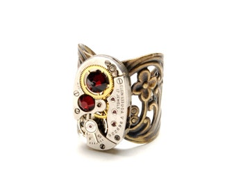 JANUARY GARNET RED Steampunk Ring, Steampunk Vintage Watch Ring, Antique Brass Ring, Steam Punk, Steampunk Jewelry By Victorian Curiosities