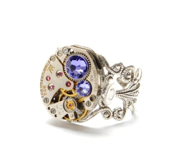 Steampunk Ring TANZANITE DECEMBER Steampunk Watch Ring Steampunk Vintage Purple Lavender Lilac Silver SteamPunk Jewelry VictorianCuriosities