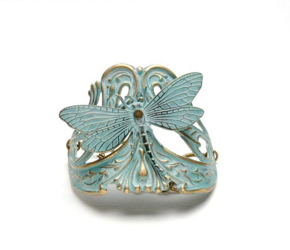 Dragonfly Bracelet Verdigris Cuff Bracelet Brass Cuff Verdigris Patina Jewelry Aqua Turquoise Steampunk Jewelry By Victorian Curiosities