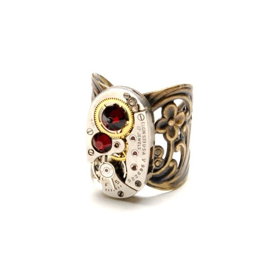 JANUARY Steampunk Ring GARNET RED Steampunk Watch Ring Antique Brass Ring Steam Punk Victorian Steampunk Jewelry By Victorian Curiosities