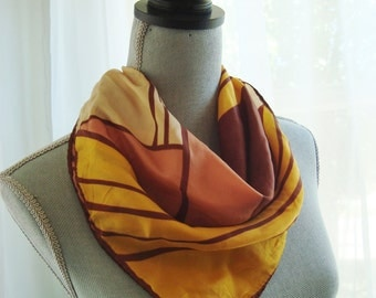 Lovely 1960s Mod Scarf in Yellow, Brown and Beige