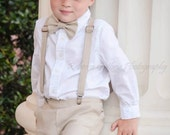 Linen Ring Bearer Outfit, Ring Bearer Bowtie, Suspenders, Newsboy hat and Pants. Wedding Outfit for Ringbearer
