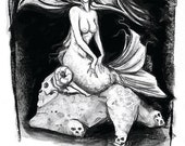 SALE! Half Off - SHE - The Siren of the Deep - 11x17 Limited Print of Charcoal Drawing
