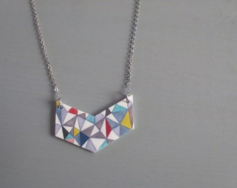 Chevron - Geometric Color Block Statement Necklace; Resin Bib and Pattern by Designer on a Silver Tone Chain (Geometrische) by InfinEight