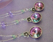 Crystal necklaces set of 3 bridesmaid gifts, lilac rhinestone pendant necklaces, pastel multicolor Austrian crystal, bridesmaid jewelry