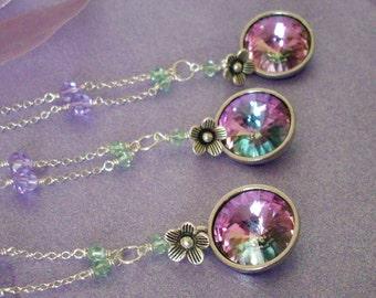 Crystal necklaces set of 3 bridesmaid gifts, lilac rhinestone pendant necklaces, pastel multicolor Austrian crystal, bridesmaid jewelry