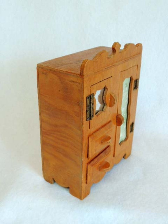 """Vintage Handcrafted Cottage style DOLL WARDROBE ARMOIRE .. 7"""" Tall"""