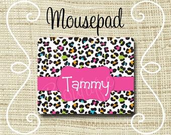 Custom Personalized Mousepad Mouse Pad Leopard Rainbow