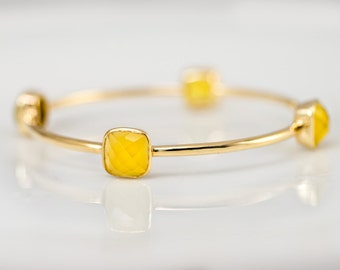 Bangle - Yellow Chalcedony Bracelet - Gemstone Bangles - Bezel Set Bangles - Gold Bracelets