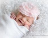 Baby Headband- Wedding Headband- Light Pink Ruffled Chiffon Flower on Soft White Elastic Headband