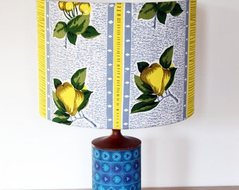 Vintage Retro Lampshade - 1950s Fabric -  Small Size - Handmade - Lemons & Pears Design