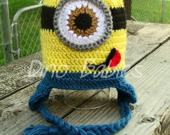 Minion Hat Despicable Me Beanie Yellow Monster Earflap Crochet