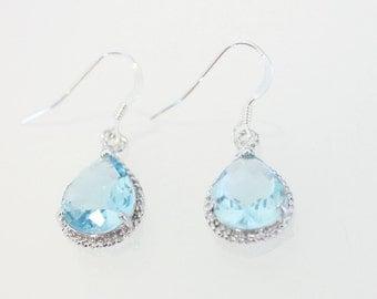 Aquamarine Earrings, Wedding Jewelry, Aquamarine Jewelry, March Birthstone, Earrings, Dangle Earrings, Sterling Silver, Birthstone Jewelry