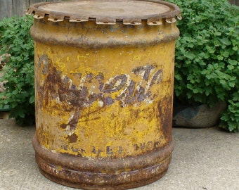 Antique Grapette Syrup Painted Metal 10 Gallon Drum, Industrial, Primitive Collectible, Man Cave Decor, Free Local Kansas City Area Pickup