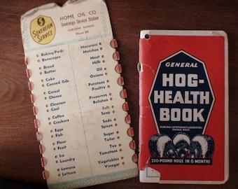 Vintage 1920's, 1930's Rural Farming Ephemera, 1928 Hog Heath Book, Advertising Medium Grocery List Home Oil Co Osborne KS Sovereign Service