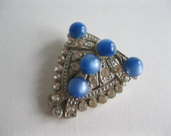 Vintage 1920s Dress Clip - Rhinestone Blue Cabochon - Art Deco Bridal Fashions