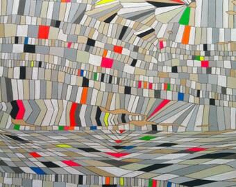"Original Geometric Abstract Modern Art painting on wood panel 20""x24"" grey white beige fluorescent neon pink red green blue orange yellow"