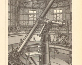 1893 Great Refractor of Pulkovo Astronomical Observatory Original Antique Engraving to Frame