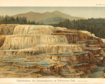 1904 Mammoth Geyser in Yellowstone Park Original Antique Chromolithograph to Frame
