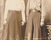 Sisters in Shirtwaists- Best Friends- Edwardian Woman- 1900s Antique Photograph- Old Photo Postcard- RPPC Portrait