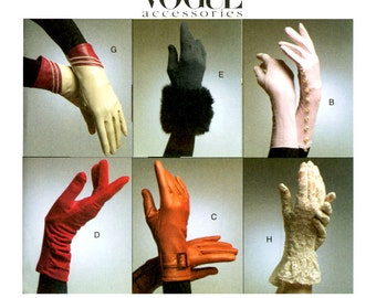 Evening Gloves Pattern Uncut Vogue V8311 Womens Gussetted Wrist Length, Gauntlet, Wristlet, Fur Cuff, Sport, Buttoned Womens Sewing Patterns