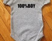 100%Boy Bodysuit in Heather Grey Great Gender Reveal
